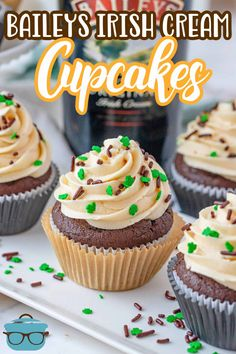 If you love chocolate and Irish Cream then you will absolutely love these Homemade Baileys Cupcakes! A spiked cupcake topped with a Baileys frosting. Every bite is pure deliciousness. Quick Easy Desserts, Homemade Desserts, Easy Cake Recipes, Cupcake Recipes, Just Desserts, Gourmet Recipes, Cupcake Cakes, Dessert Recipes, Cupcakes