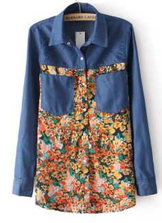 Blue Long Sleeve Contrast Floral Denim Blouse - Sheinside.com