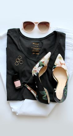 simple, floral, fresh. white jeans, black tee, midi rings, printed pumps, shades, and a clean scent. spring wear