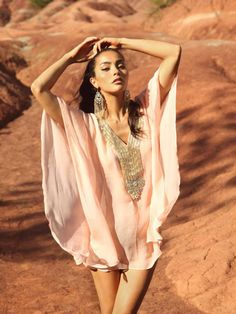 love that silk kimono-inspired pieces are coming back. This blush with gold beading one is gorgeous