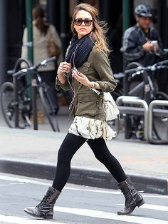 Street Style in Military Jacket and black Scarf {Jessica Alba}