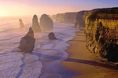 One of the most popular attractions along the Great Ocean Road, Victoria, south Australia: the Twelve Apostles show the power of the sea to erode limestone coastline. Best seen in the strong evening light. This photograph was taken in February 2001 - since then the front stack has collapsed.