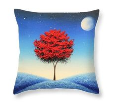 Abstract Tree Accent Pillow Bedroom Pillow Red White by BingArt
