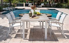 Ipanema Patio Furniture Collection   Welded, aluminum frames   Offered in 9 frame colors   Dozens of PVC sling colors   Made-to-order in U.S.A.