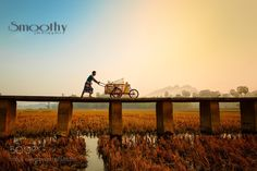 Travel in Myanmar  .. by smoothy  sunrise people travel bridge Morning Myanmar Carts Hpa-An smoothy