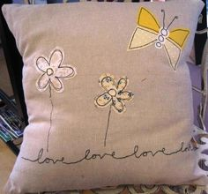 Embroidered applique cushions - love, home is where the heart is, valentine Applique Cushions, Sewing Pillows, Diy Pillows, How To Make Pillows, Free Motion Embroidery, Machine Embroidery Applique, Hand Embroidery, Crochet Hook Set, Sewing Appliques