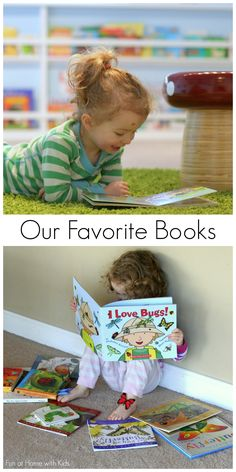 A list of our absolute favorite books for babies, toddlers, and preschoolers from Fun at Home with Kids