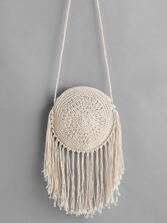 Shop fringe round shaped straw crossbody bag online shein offers fringe round shaped straw crossbody bag more to fit your fashionable needs bagsonline Online shopping for Fringe Round Shaped Straw Crossbody Bag from a great selection of women's fashion cl Purse Patterns Free, Crochet Purse Patterns, Macrame Patterns, Tote Pattern, Sewing Patterns, Crochet Backpack, Crochet Tote, Crochet Purses, Free Crochet