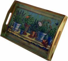 bandeja aromáticas  madera,papel de arroz,pinturas acrilicas decoupage