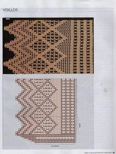 Crochet Edgings And Borders Crochet Knitting Handicraft: Crochet edges Filet Crochet, Crochet Patterns Filet, Crochet Borders, Doily Patterns, Crochet Round, Crochet Home, Love Crochet, Crochet Motif, Crochet Crafts