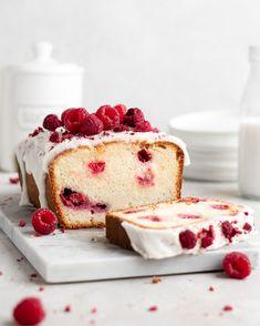 Raspberry Rose Yogurt Loaf Cake - Food Duchess Sweet Recipes, New Recipes, Baking Recipes, Cheesecake, Freeze Dried Strawberries, Un Cake, Loaf Cake, Bundt Cakes, Sweet Bread