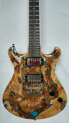 Knaggs Guitars Keya T2 Natural Spalt Maple top with Blue Lapis stone inlaid