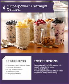 """RECIPE CARD: """"Superpower"""" Overnight Oatmeal #recipecard #tips #howto"""