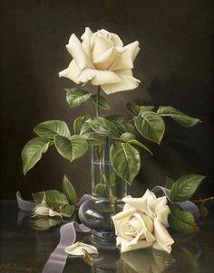 Белая роза в вазе, художник Wolfgang Grunberg