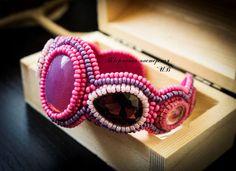 Купить Браслет Розовая Мечта - фуксия, браслет, розовый, вышивка, вышивка по коже, Вышивка бисером