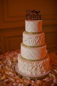 Blush and Gold Wedding Cake; Wedding Cake; Cake; Epic Imagery; Luxury Beach Hotel Wedding in Marina Del Rey - The Coordinated Bride Wedding Blog