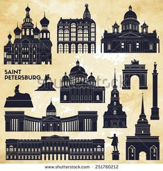 Saint Petersburg monuments. Vector illustration