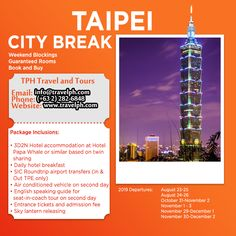 TAIPEI CITY BREAK (Land Arrangement Only) Minimum of 2 persons  For more inquiries please call: Landline: (+63 2)282-6848 Mobile: (+63) 918-238-9506 or Email us: info@travelph.com #Taipei #Taiwan #TravelPH #TravelWithNoWorries Hotel Breakfast, Taipei Taiwan, City Break, Tours, Travel, Viajes, Destinations, Traveling, Trips