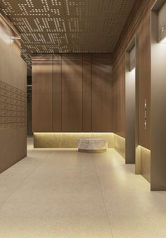 ISKRA-PARK on Behance Corridor Design, Hall Design, Lobby Interior, Interior Lighting, Modern Interior, Interior Architecture, Interior Design, Elevator Lobby Design, Hotel Corridor