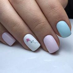Super nails white and Pink and blue