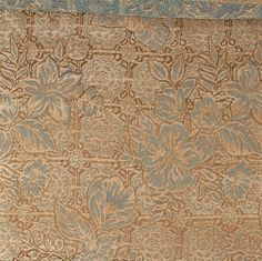 Tropical Fabric Chenille Floral Upholstery Decor Gold Teal Vintage Designer BTY #Unbranded