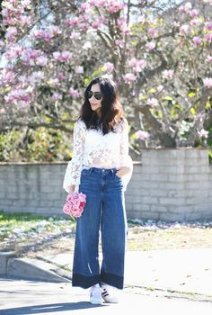 HallieDaily: Lace Top-Wide-Leg-Jeans-Sneakers-Style 6