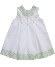 Girls white A-line baby dress with green plaid