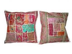 2 Maroon Cushion Covers Sequin Embroidery Pillow Shams $19.99
