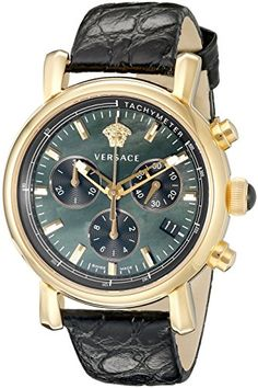 Now available Versace Women's VLB050014 Day Glam Stainless Steel Watch with Black Leather Band