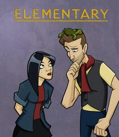 In celebration of the new (AMAZING) episode tonight. More Elementary Cartoon! (He's looking at some gruesome murder, Clyde is helping) Elementary Tv Show, Elementary My Dear Watson, Sherlock Holmes Elementary, Sherlolly, Baker Street, Criminal Minds, The Real World, Funny Pins, Superwholock