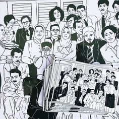 """Finally done with this illustration! We're calling it """"All in the Family"""" and it has to be our favorite piece to date. Currently working on the listing to have up in the next day or so. If you're in Chicago you'll get to see this at the @pcrf_uic art exhibition! How many Palestinian figures can you name here?  #WatanPalestine #Palestine #Palestinian #Arab #handmade"""
