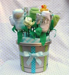 """The Ultimate Baby Gift- Baby Boy Clothing Bouquet """"Mommy Rocks"""""""