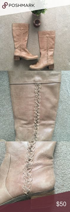 Lucky Brand Genuine Leather Boots Lucky Brand Genuine Leather Tan Boots. Size 8.5. Great condition. #luckybrand #freepeople #leather #leatherboots #boho #boheamian #anthropologie #braidedleather Lucky Brand Shoes Heeled Boots