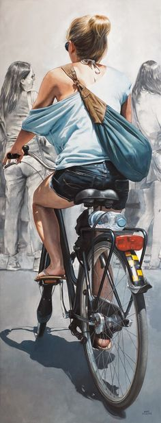 June 2016 ☞ Painting ☞ is a Spanish artist based in Barcelona. Marc Figueras was trained at the Escola d'Arts i Oficis de Barcelona. His hyper-realistic paintings, typically depict anonymous. Bicycle Painting, Bicycle Art, Hyper Realistic Paintings, Cool Paintings, Art Moderne, Photorealism, Watercolor Portraits, Figure Painting, Figurative Art