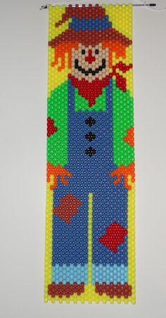 Handmade Fall Mr. Scarecrow Beaded Banner