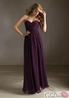 Sheath Sweetheart Floor-length Chiffon Bridesmaid Dress - Bridesmaid Dresses - Wedding Party Dresses - CDdress.com