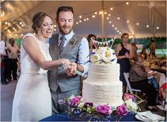Cake cutting inside the Prairie Garden Canopy Wedding Reception at Denver Botanic Gardens at Chatfield in Colorado. - April O'Hare Photography http://www.apriloharephotography.com #ChatfieldBotanicGardens #DenverBotanicGardensChatfield  #ColoradoWedding #DenverWedding #ColoradoRusticWedding #ColoradoGardenWedding