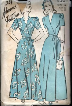 """Vintage 1946 Advance 4331 Wrap-Over Housecoat or Robe With Scalloped or Straight Front Sewing Pattern Size 14 Bust 32"""" by Recycledelic1 on Etsy"""
