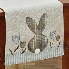 "Bunny & Tulip Applique Table Runner - 42"" #easter #tablerunner #parkdesign #countrydecor #spring #chicks #bunnies"