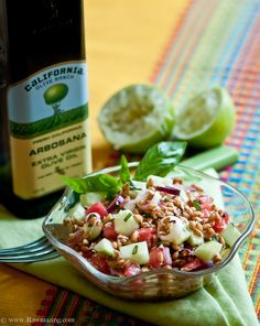 cucumber watermelon wheat berry salad with lime basil vinaigrette -- sub out wheat berries for gf
