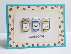 Lawn Fawn - Love You a Latte, Stitched Journaling Card, Stitched Rectangle Stackables _ super cute card by Sabine via Flickr - Photo Sharing!