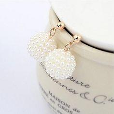 EUR € 2.99 - Sweet Pearl (circular) Golden Alloy Drop Earrings(White) (1 Pair) vapaa laivaliikenteen kaikki gadgetit!