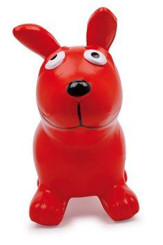 """Hüpfhund """"Bodo"""". Ein süßer roter Hund für wilde Springübungen zu Hause. Durch seinen massigen Körper fängt er die Sprünge auf und federt elegant wieder in die Höhe. Garantierter Spaß beim Springen ist vorprogrammiert, da die Sprungkraft dieses Hundes riesig ist."""
