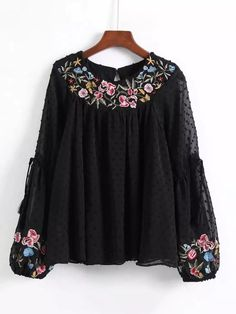 Dot Textured Embroidered Blouse -SheIn(Sheinside) buy now Embroidery Fashion, Embroidery Dress, Embroidered Blouse, Floral Embroidery, Embroidery Designs, Embroidery Stitches, Casual Tops For Women, Blouses For Women, Trendy Dresses