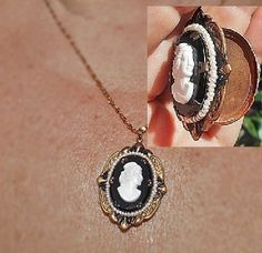 20's Art Deco Picture Locket, Black Glass White Celluloid Cameo, on Etruscan Black and Brass Setting with Faux Pearl Seed Beads Necklace by emenow on Etsy