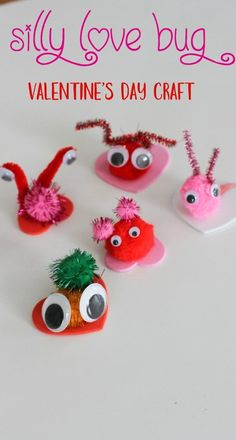 Silly Valentine's Day Love Bugs - Click here for details on this  Easy Craft for Kids Valentine's Day Love bug, Valentine's Day pom pom craft, Valentine's Day kids activity, Valentine's Day preschool activity, Valentine craft for kids, Valentine's Day party activity