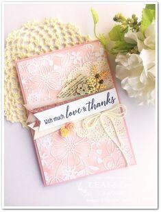 繊細なペーパーを貼るだけで、ゴージャスな雰囲気に。 | LEAF&LeaFの「手作りカード」な暮らし。