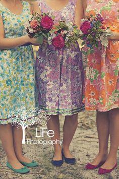 I love this idea - Vintage sheet bridesmaids dresses for outdoor Garden Cottage Wedding