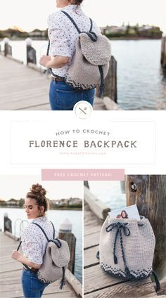 Florence Backpack Free Crochet Pattern by - love knitting/crochet :) Crochet Backpack Pattern, Crochet Purse Patterns, Bag Pattern Free, Crochet Motifs, Bag Patterns To Sew, Easy Patterns, Knitting Patterns, Sewing Patterns, Crochet Handbags