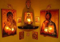 An icon corner is an essential feature of any Orthodox house. It becomes the family's place of worship – the home altar. Orthodox Prayers, Catholic Prayers, Catholic Answers, Catholic Bible, Rosary Catholic, Orthodox Christianity, Religious Icons, Religious Art, Home Altar Catholic